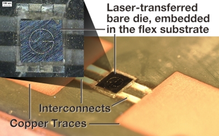 Laser-enabled advanced packaging assembles chips onto flex substrates