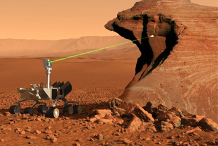 The LANL ChemCam system uses a laser to take samples from as far as 23 feet away from the Curiosity rover
