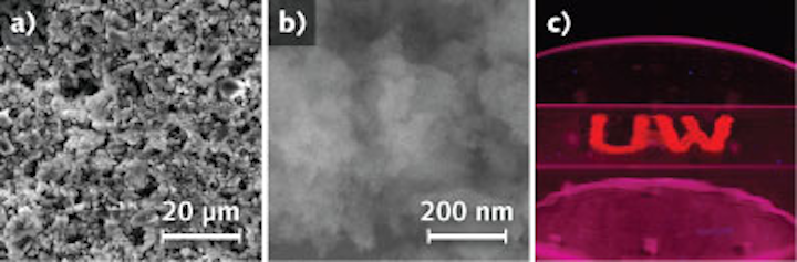 Scanning electron micrograph of silicon quantum dots, which form a red-emitting phosphor useful in white LEDs