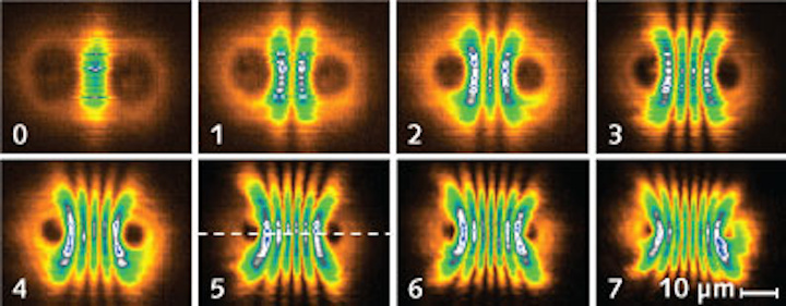Interfering polariton condensates induced from two pump laser beams produce oscillating quantum states of laser light