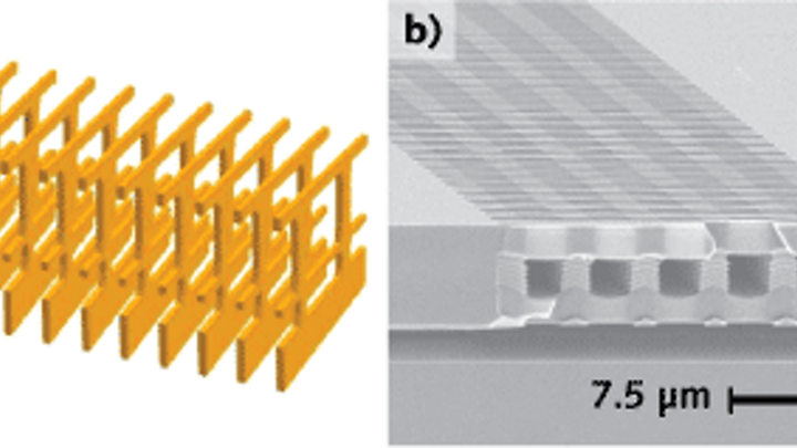 """A slow-light, hollow-core waveguide (array) with ultralow loss is fabricated in silicon and composed of four """"walls"""" of high-contrast grating (HCG) structures"""