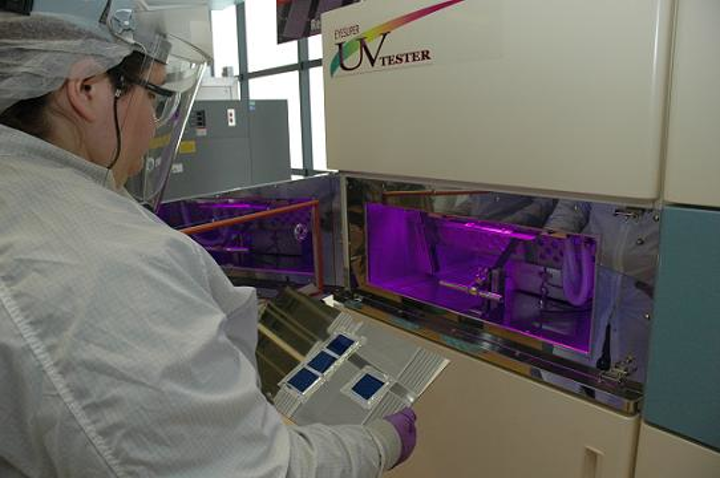 An Ultraviolet Weathering Chamber from EYE Lighting has been installed at the Richard Desich SMART Commercialization Center for Microsystems laboratory in Ohio so that customers who choose to use the facility for material aging studies can compress 30 years of exposure to the damaging effects of the sun's UV rays into a 3 week time period