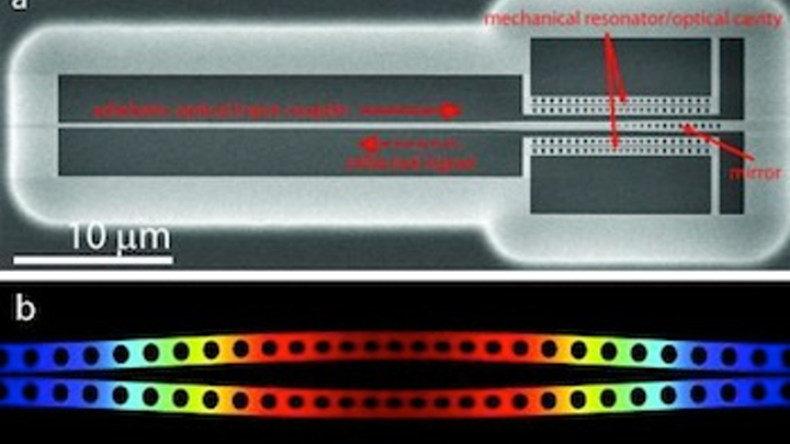 Caltech silicon micromechanical system produces squeezed light, useful for ultraprecise interferometry