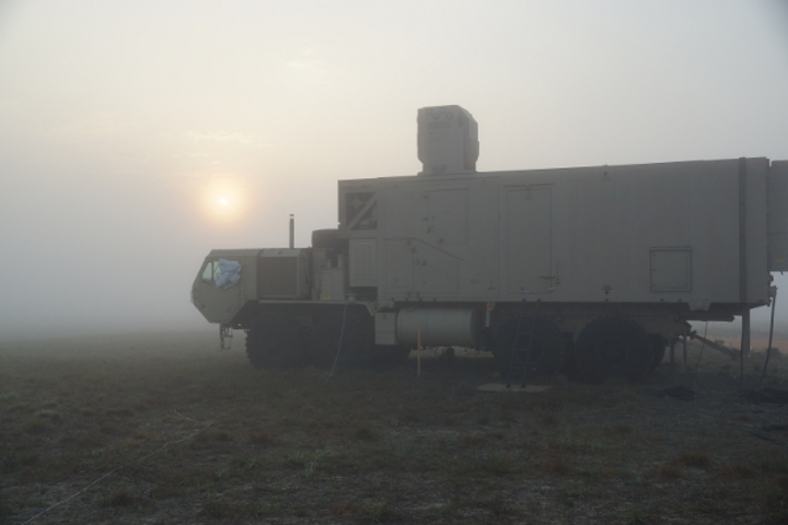 Boeing's High Energy Laser Mobile Demonstrator proved the effectiveness of directed energy weapons in foggy, off-shore conditions during demonstrations in Florida. (Image credit: Boeing)