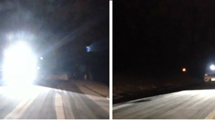 Smart headlights use a DLP-based projector to reduce glare for oncoming drivers. (Image credit: Carnegie Mellon University)
