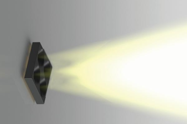 Plessey's chip-scale optical system focuses the output from conventional LEDs without requiring bulky optical components. (Image credit: Plessey)