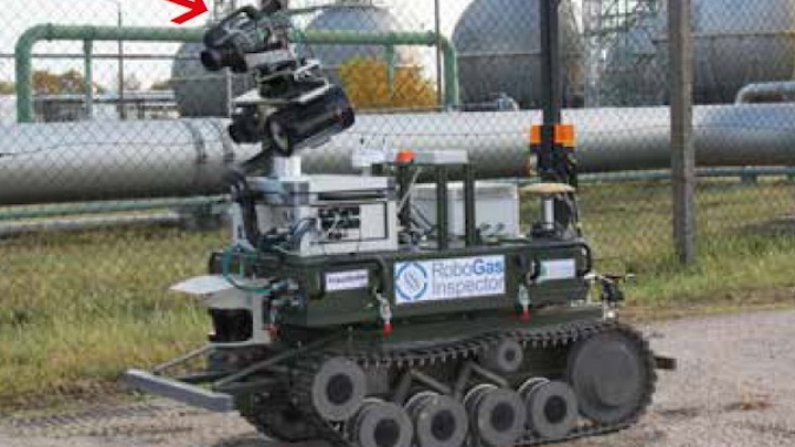 The RoboGasInspector consists of three modules: a chain-driven mobile platform, a navigation module and an inspection module. Note the FLIR GF320 on top of the unit. (Image credit: FLIR)