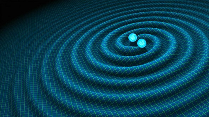 The collision of two black holes causes cosmic waves that can be detected by highly sensitive detectors called wavefront dectors, as shown in this artistic rendering. (Image credit: Charly W Karl)