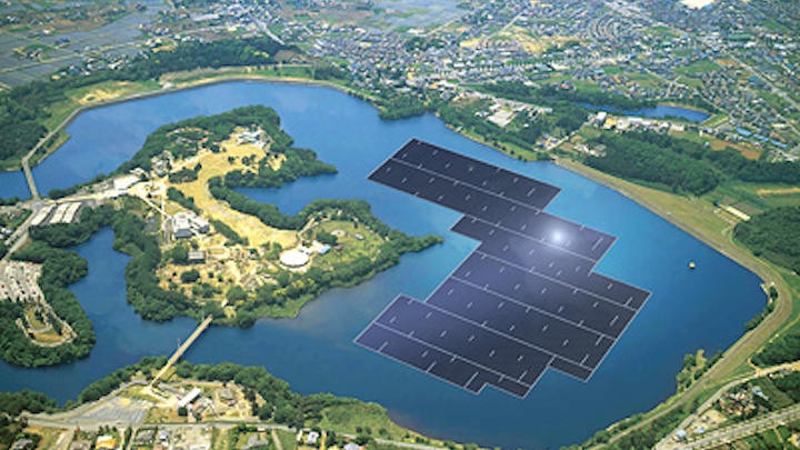 A rendering of the 13.7 MW plant on the Yamakura Dam reservoir in Japan is shown. (Image credit: Kyocera)