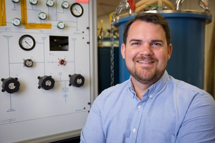 Hugh Churchill, assistant professor of physics, directs the Quantum Device Laboratory at the University of Arkansas and will study black phosphorus with the help of a NSF award. (Image credit: Russell Cothren/University of Arkansas)