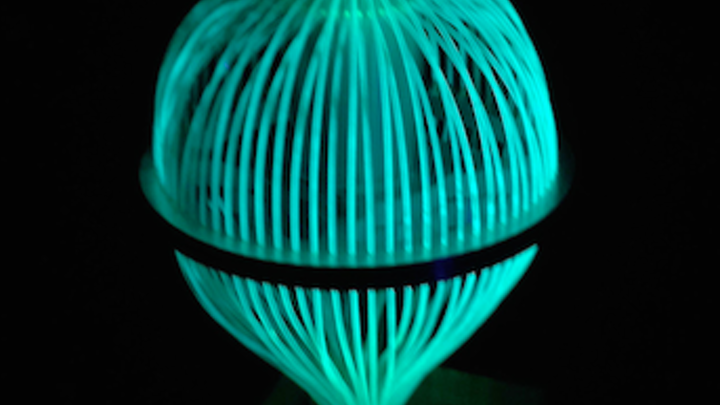 Luminescent detector for free-space optical communication is omnidirectional