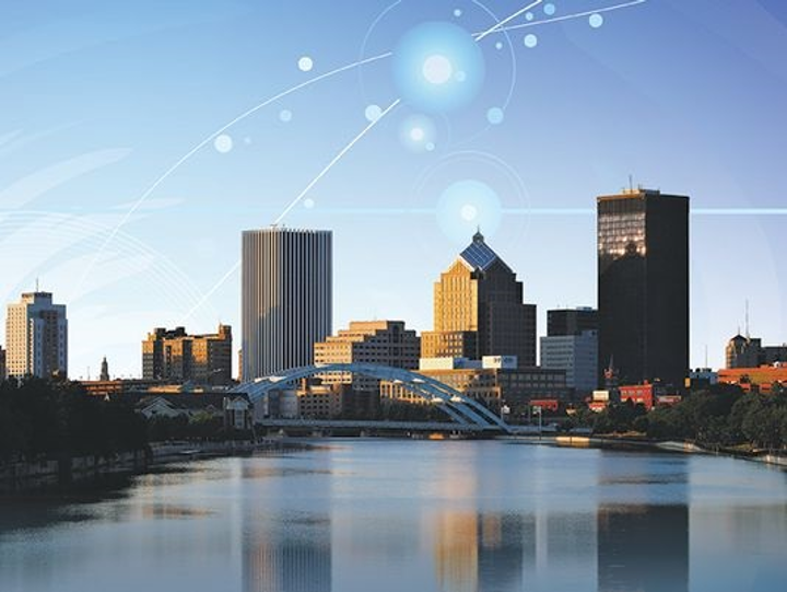 A photo illustration shows downtown Rochester, NY--future home of AIM Photonics. (Image credit: Rochester Democrat & Chronicle/photo by Carlos Ortiz, illustration by Dana Stewart)