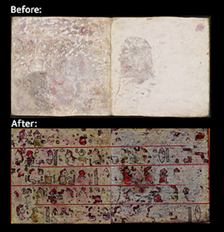 Details of a Mesoamerican Codex hidden under deer hide and plaster have been revealed using hyperspectral imaging. (Image credits: Journal of Archeological Science: Reports, 2016 Elsevier)