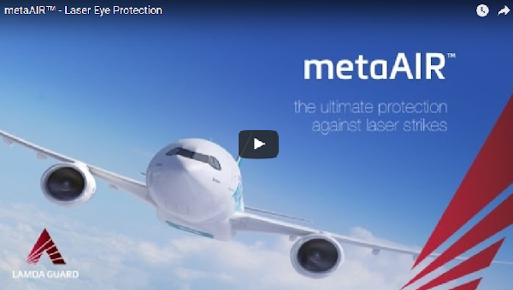 A still from the video (embedded below) on how metaAIR protects the occupants of aircraft from laser strikes. (Image credit: Metamaterial Technologies)
