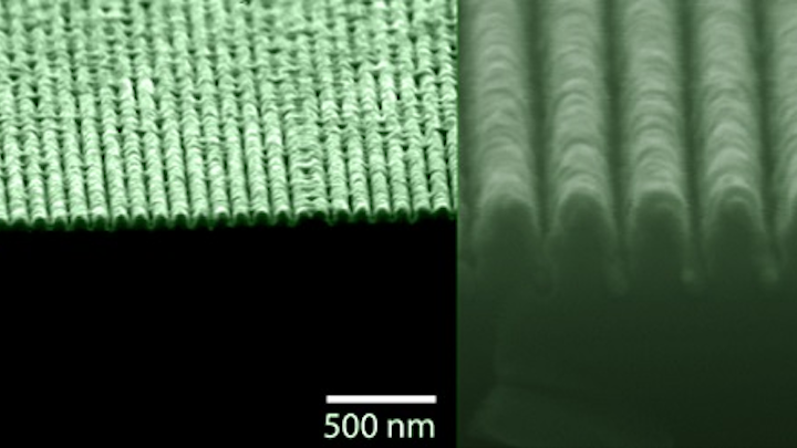 SEM images show a 'lossless' metamaterial that behaves simultaneously as a metal and a semiconductor. (Image credit: Ultrafast and Nanoscale Optics Group at UC San Diego)