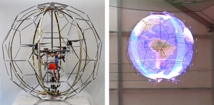 Flying spherical display uses rapidly spinning LED rings