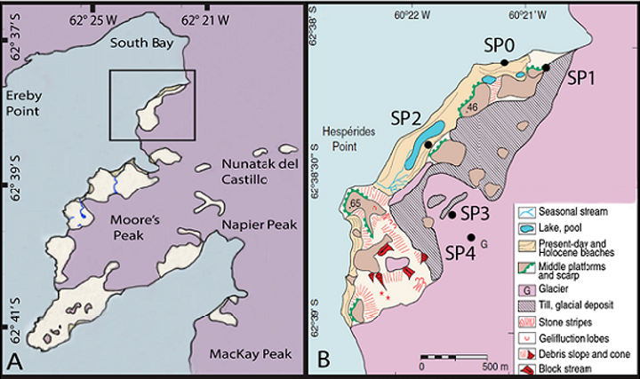 The Hurd Peninsula of Livingston Island (a) with inset (b) showing geomorphological features of the sampling area. (Image credit: Biogeosciences)