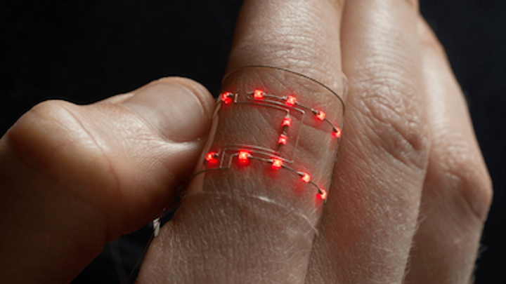 Hybrid 3D printing creates flexible wearable devices containing rigid optoelectronics