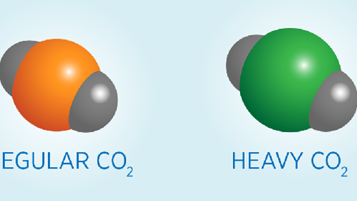 Carbon atoms occur in heavy and light forms, or isotopes, and measuring the relative amounts of each can reveal the source of the carbon (fossil fuel emissions deplete the naturally occurring heavy carbon). Oxygen atoms are represented in gray and carbon isotopes are in orange and green. (Image credit: Kelly Irvine/NIST)