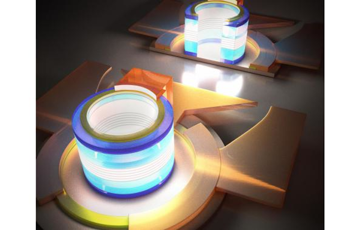 Electrically pumped quantum-dot near-IR microlaser on silicon has submilliamp threshold