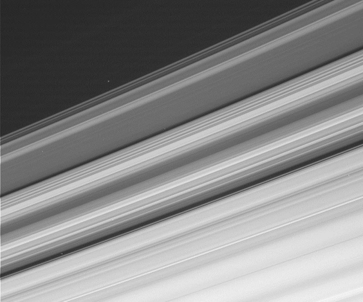 A raw image with Cassini pointing toward Saturn and its rings was taken through CL1 and CL2 filters (in the 600 nm range). This image has not been validated or calibrated. A validated/calibrated image will be archived with the NASA Planetary Data System. (Image credit: NASA/JPL-Caltech/Space Science Institute)