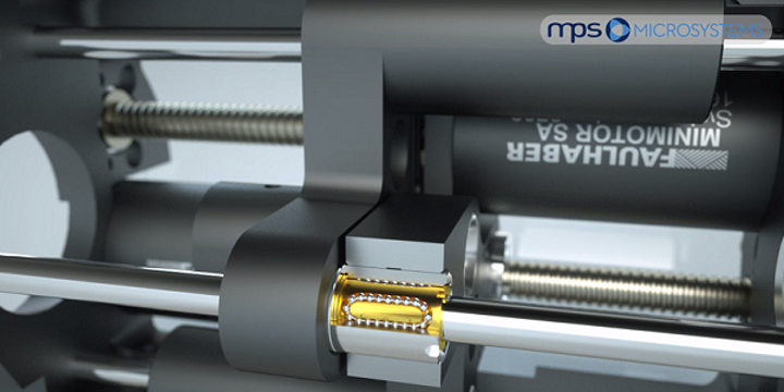 The smallest linear ball bearing (shown within a positioning system) in the world can be applied to a variety of micro-photonic positioning applications. (Image credit: MPS Micro Precision Systems)