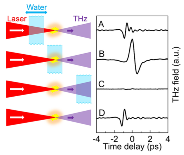 Femtosecond laser pulses produce terahertz radiation from water