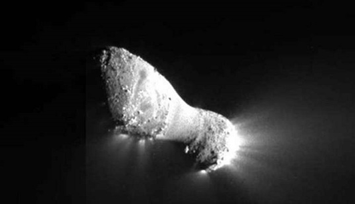 Comet Hartley 2 can be seen in detail in this image from NASA's EPOXI mission. It was taken as the spacecraft flew by from about 435 miles. The comet's nucleus, or main body, is about 1.2 miles long and jets can be seen streaming out of the nucleus. A Goddard team would like to use a microbolometer to study these objects in greater detail. (Image credit: NASA)