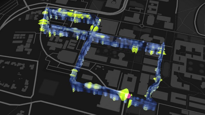 The map shows location of a 3-mile, figure-8 loop of optical fibers installed beneath the Stanford University campus as part of the fiber-optic seismic observatory. (Image credit: Stamen Design and the Victoria and Albert Museum).