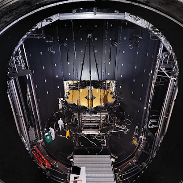 NASA's James Webb Space Telescope (JWST) is suspended from Minus K vibration isolators on top of Chamber A at NASA's Johnson Space Center in Houston. (Image credit: NASA/Chris Gunn)