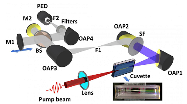 A tabletop laser setup shows how a high-power laser pulse ionizes and creates plasma in a common laboratory liquid like acetone or dichloroethane or even water. The plasma can be seen as a long line along the length of the cuvette containing the liquid. This line is called a filament and it radiates, among others, copious terahertz radiation. (Image credit: Tata Institute of Fundamental Research)