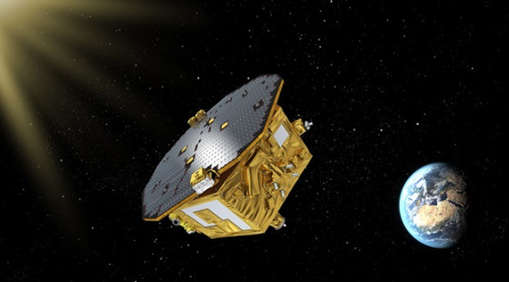 The LISA Pathfinder is shown in space, laying the groundwork for the eventual detection of gravity waves by its successor LISA. (Image credit: ESA)