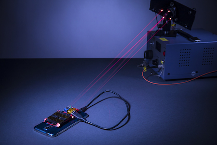 Near-IR laser system safely charges a smartphone wirelessly from across a room