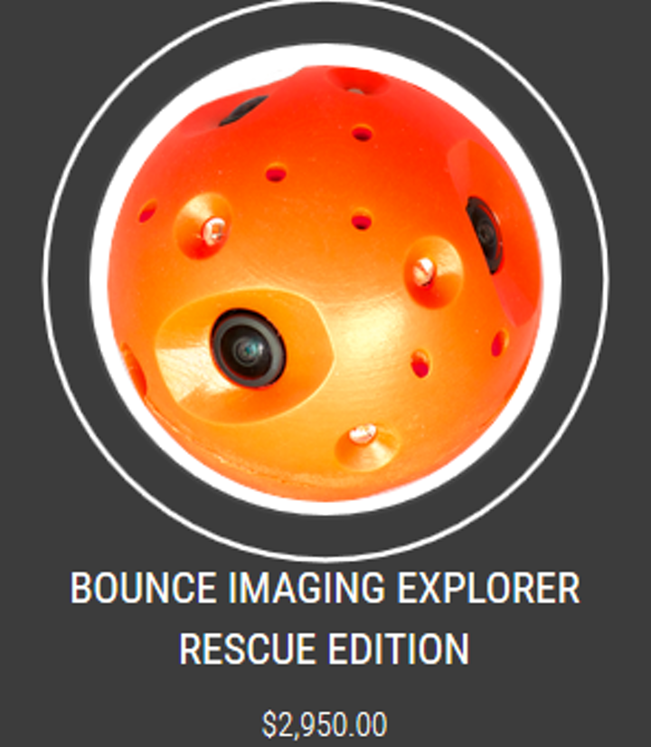 Shown is a 'throwable' spherical-shaped camera that can enter tactical areas to improve the safety of first responders while providing a 360 degree view of its surroundings. (Image credit: Bounce Imaging)