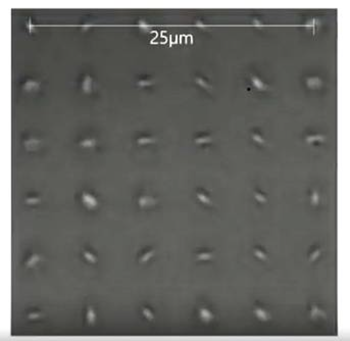 Voxels are shown within a glass block; these structures enable permanent optical data storage. (Image credit: The Register)