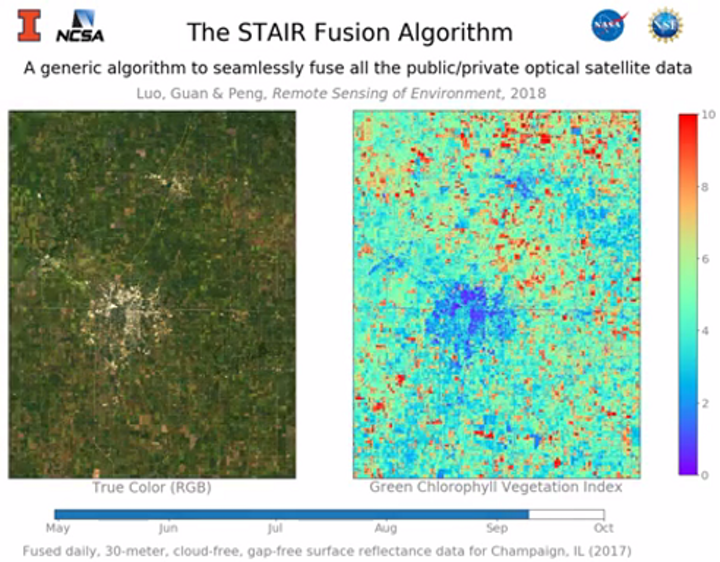 A new algorithm fuses high-resolution, high-frequency data to generate aerial maps at 30 m going back to the year 2000 with historical data. (Image credit: University of Illinois)