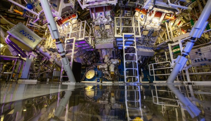NIF's target chamber is where the magic happens--temperatures of 100 million degrees and pressures extreme enough to compress the target to densities up to 100 times that of lead are created there. (Image credit: Jason Laurea/LLNL)