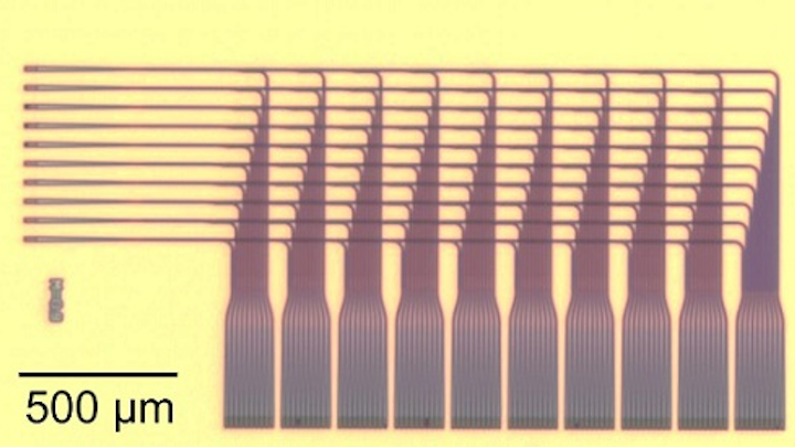 NIST's grid-on-a-chip distributes light signals precisely, showcasing a potential new design for neural networks. The 3D structure enables complex routing schemes that are necessary to mimic the brain, with light traveling farther and faster than electrical signals. (Image credit: Chiles/NIST)
