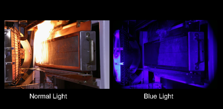 Narrowband blue illumination and matched optical filter allow seeing through fire