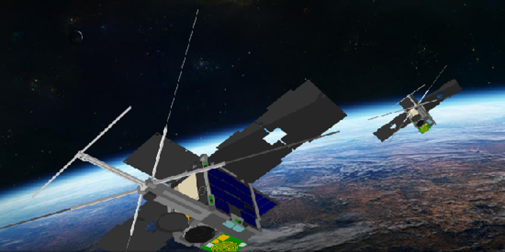 An artist's rendering shows the M2 satellite in orbit. (Image credit: University New South Wales, Canberra Space)