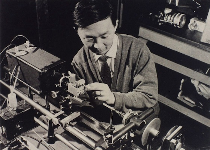 Charles Kuen Kao doing an early experiment on optical fiber at the Standard Telecommunications Laboratory in Harlow, England, in the 1960s. He shared the Nobel Prize in Physics in 2009. (Image credit: University of Hong Kong, via EPA)