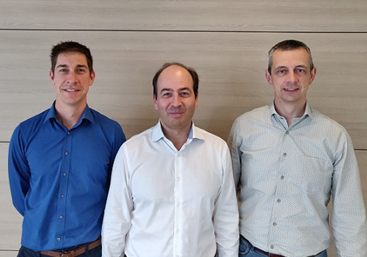 Sentea's management team from left to right: Thijs Spuesens (CTO), Karsten Verhaegen (CEO), Ronny Bockstaele (COO). (Image credit: imec)