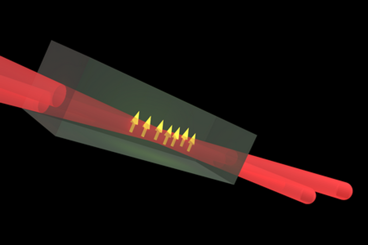 An illustration shows optical polarization of defect spin in silicon carbide. (Image credit: Tom Bosma/University of Groningen)