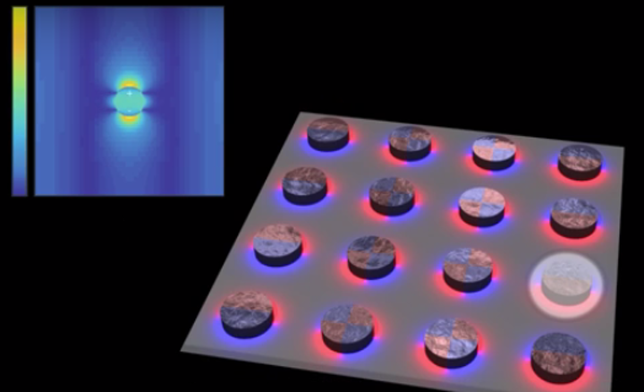 Researchers at Aalto University are using dark lattice modes from silver nanoparticles to create a visible-light plasmonic nanolaser. (Image credit: Aalto University)