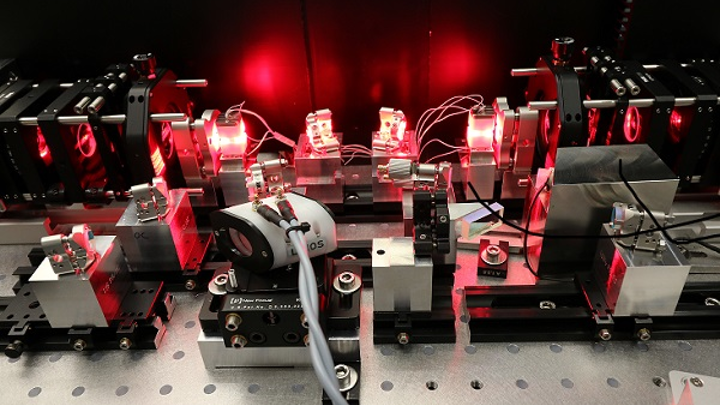 A laboratory demonstration shows a diode-pumped alexandrite laser for climate-relevant measurements in high-altitude atmospheres. (Image credit: Fraunhofer ILT)