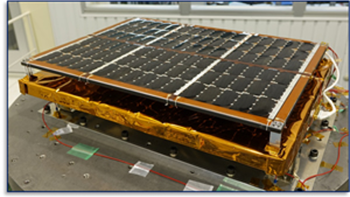 High-efficiency thin-film triple-junction PV panel from Sharp being tested in space