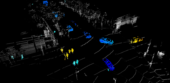 One single Doppler colored lidar frame instantly shows velocity and range of traffic and pedestrians without any interference. (Image credit: Blackmore)