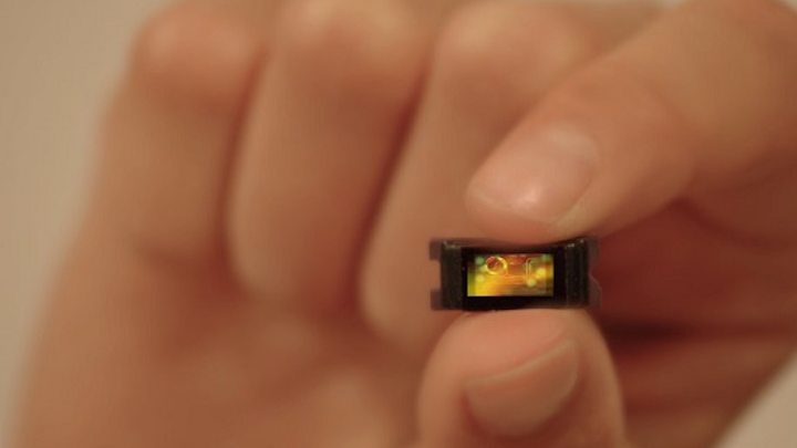Shown is the tiny, integrated, chip-based 1550 nm lidar vision sensor from a silicon photonics startup. (Image credit: SiLC Technologies)