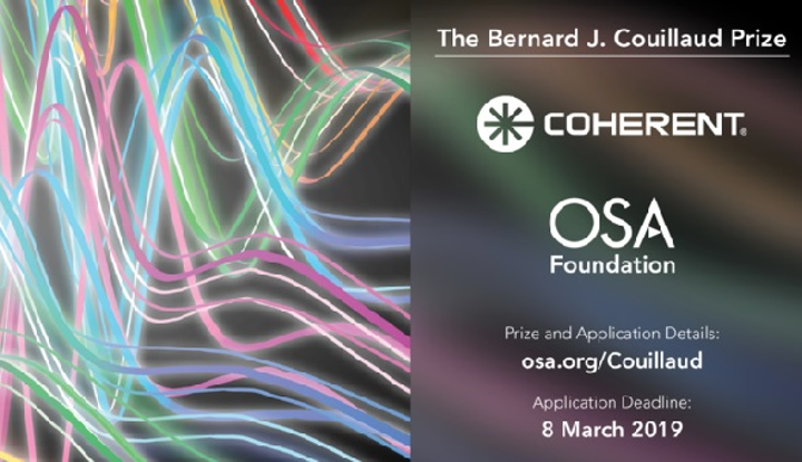 Apply by March 8th for the Bernard J. Couillaud Prize for ultrafast laser innovation. (Image credit: The OSA Foundation)