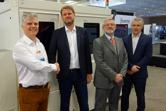 Peter O'Brien, head of photonics packaging, Tyndall and director of PIXAPP, Torsten Vahrenkamp, CEO of ficonTEC, Ignazio Piacentini, director of business development at ficonTEC, and Patrick Morrissey, head of Photonics Operations and IPIC Centre manager, are all shown at Photonics West 2019 in San Francisco, CA.